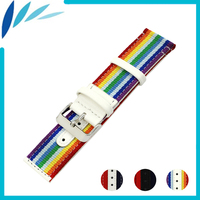 Nylon Nato Leather Watch Band 22mm 24mm for Armani Canvas Fabric Strap Wrist Loop Belt Bracelet Black White Red Blue + Pin +Tool