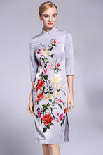 Women's floral Qipao dress spring and summer black vintage embroidery plus size elegant slim lady midi cheongsam dress S-XXXL