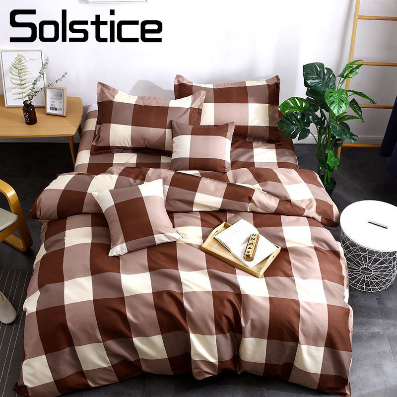 Solstice Home Textile 3-4Pcs Full Bedlinen Boy Teen Adult Girls Bedding Set Plaid Lattice Brown Duvet Cover Pillowcase Bed Sheet