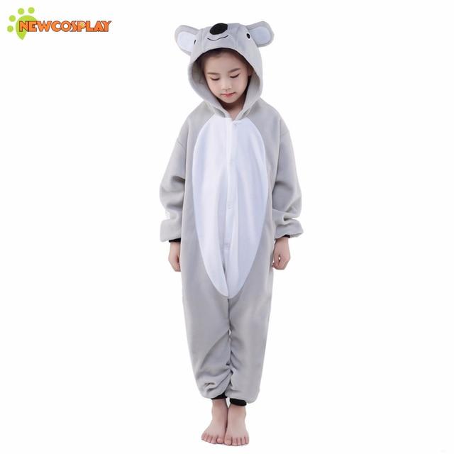 Newcosplay Children Cosplay Clothing Unisex Anime Cosplay Costume Cartoon Grey  Koala Pajamas Kids Sleepwear Cute Jumpsuit e8af7bee7
