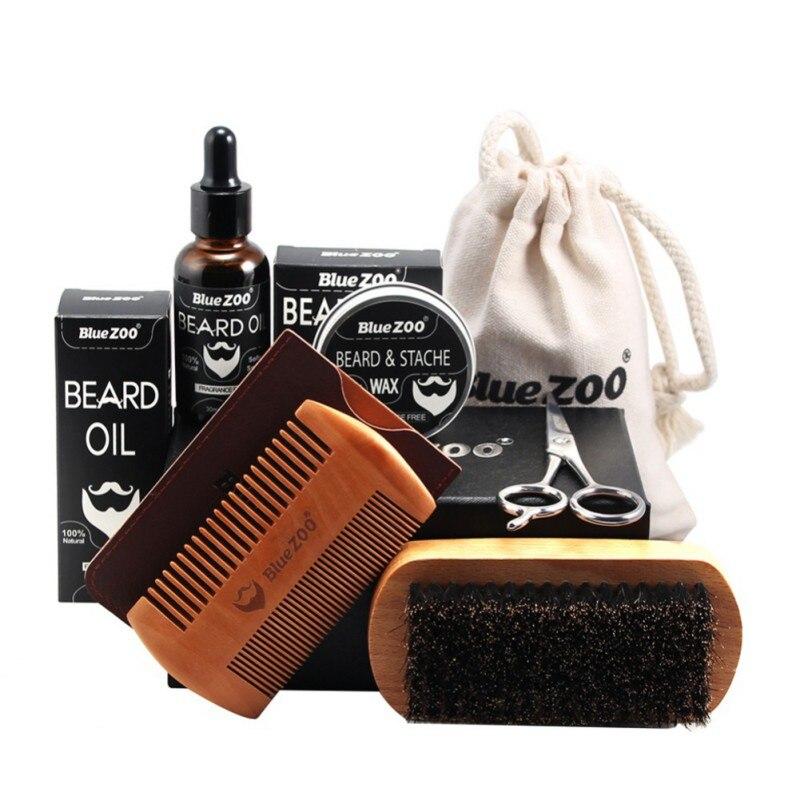 7 Pcs Men Moustache Cream Nutrition Beard Oil Beard Scissors Kit Box Moustache Comb Brush with Storage Bag Kits 2018 Products
