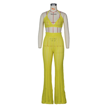 Adogirl 2019 Summer Fishnet Knitted Two Piece Set Women Sexy See Through Night Club Suits Bra Top Pants Casual Beach Outfits 2