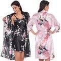 2 Unidades Set Mujeres Túnicas Kimono de Seda del Pavo Real Mujeres Lencería Sexy Pijama Albornoz Bata Camisón de Satén Del Banquete de Boda de dama de Honor