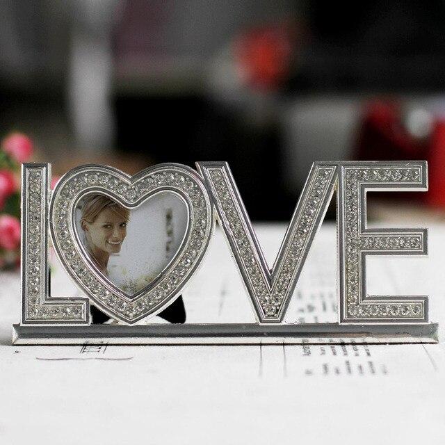 Amour Lettre Forme Cadre Photo En Metal Lettre Photo Cadre Attrayant