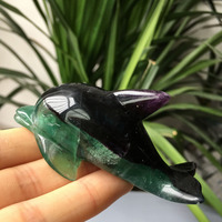 10pcs Donghai factory manufacturing Sale natural green fluorite Crystal Animal dolphins
