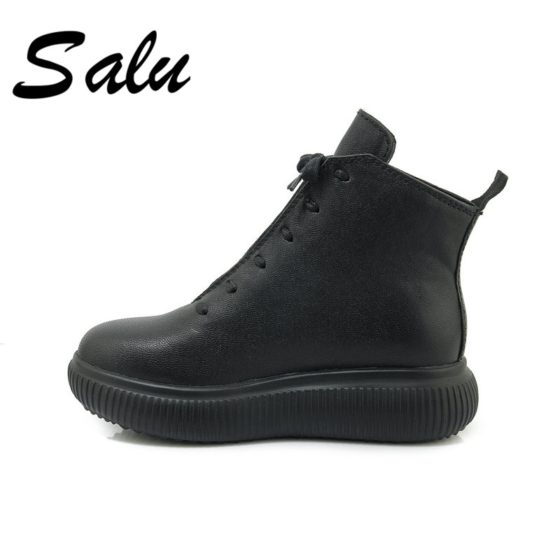 Salu New Women Ankle Boots Genuine Leather Autumn Winter Flats Cross-tied Round Toe Quality Brand Casual Sneakers Shoes Woman xammep women flats spring autumn women sneakers brand women shoes female casual shoes round toe cross tied plus big size