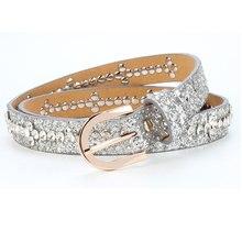 summer color new women rhinestone belt fashion crystal jeans belts golden strap