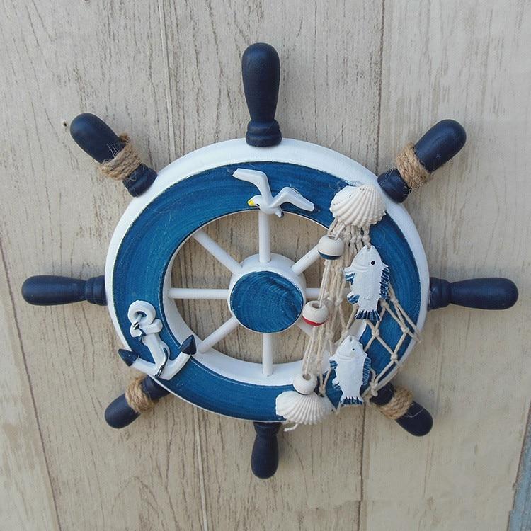 1PC Wooden Mediterranean Boat Rudder Fishing Net Seabirds Lifebuoy Home Wall Nautical Decoration Anchor Steering Wheel MP 002