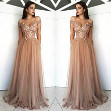 Arabic Off The Shoulder Tulle Long Evening Dresses 2019 Lace Applique Beaded Sweep Train Formal Party Prom Wear Dresses new pink baby girls birthday dresses sweep train beaded applique kids formal wear bow flower girls dresses custom made