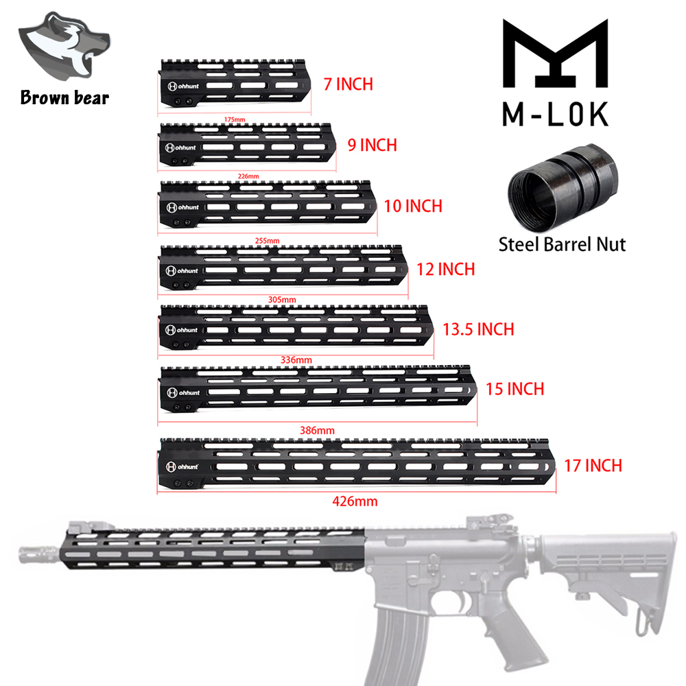 Ohhunt 7//9//10//12//13.5//15 Inches Free Float Hand guard M-LOK Handguard with Nut A