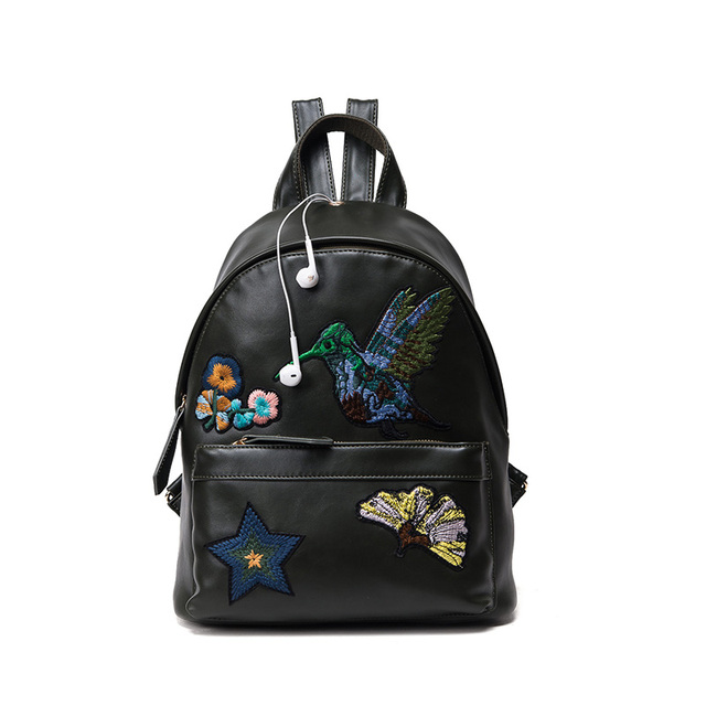 2017 new arrived winter fashion women Backpacks embroidery Flower girls shoulder bags pu leather student travel backpack Mochila