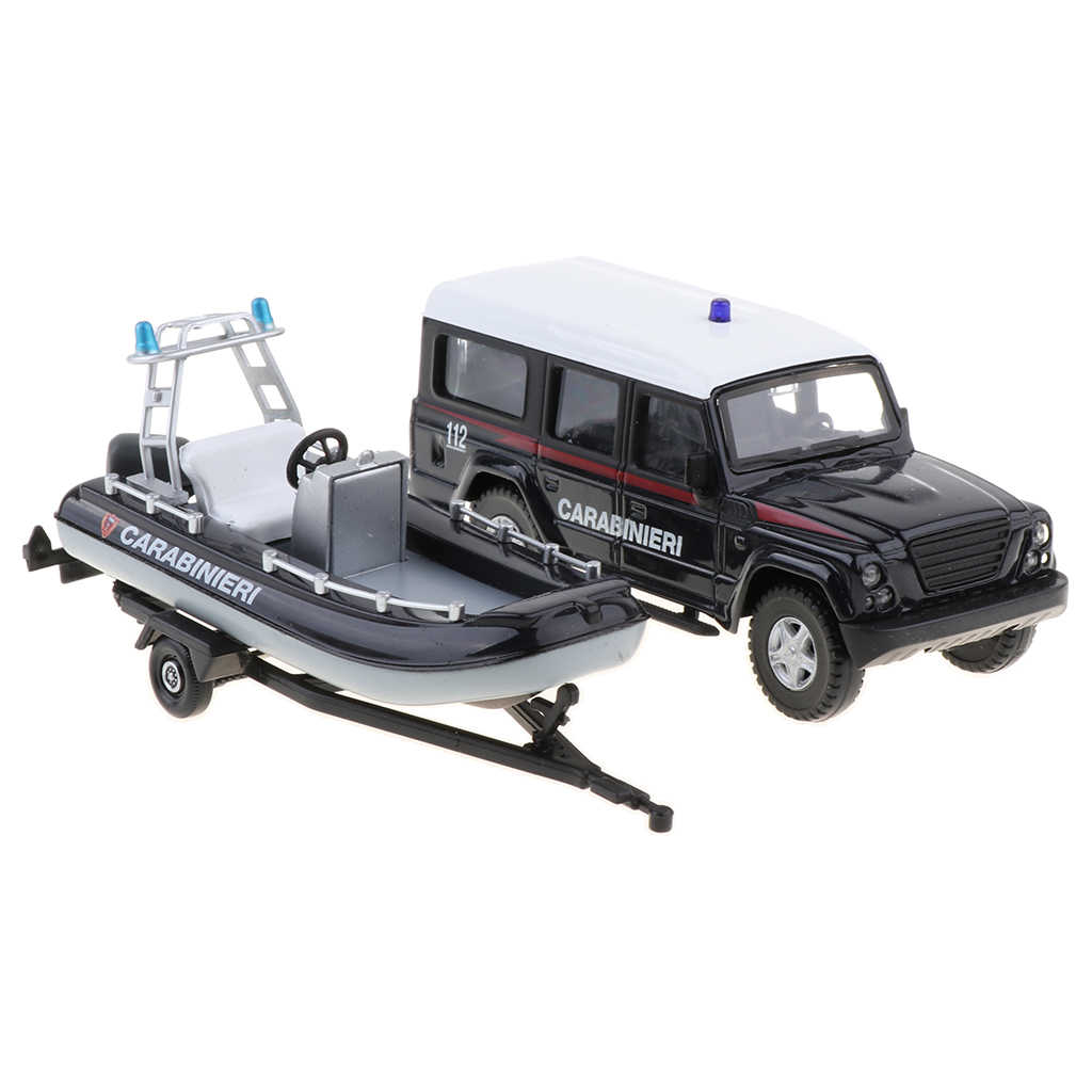 1:43th Diecast Carabinieri Police Car with Tugboat Vehicle Model Monster Climbing Truck Hobby Kid Toy