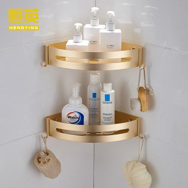 Gold Bathroom Shelves Space Aluminum Black Finished Shower Corner ...