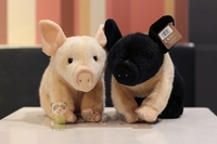 Big pig figurine plush toy little black pig plush toy small powder pig plush toy 28cm