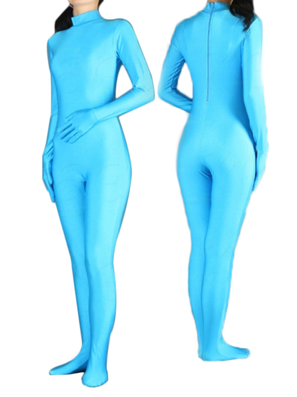 Tight Second Skin Suit Light Blue Spandex Lycra Zentai Catsuit