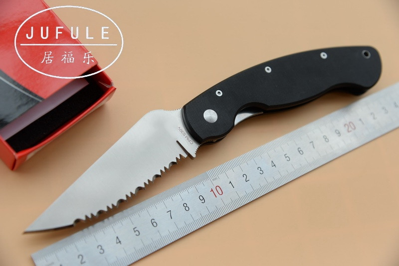 JUFULE Military C36 Serrated G10 handle real D2 61 HRC blade Folding outdoor Tactical multi EDC Tool camping hunt kitchen Knife
