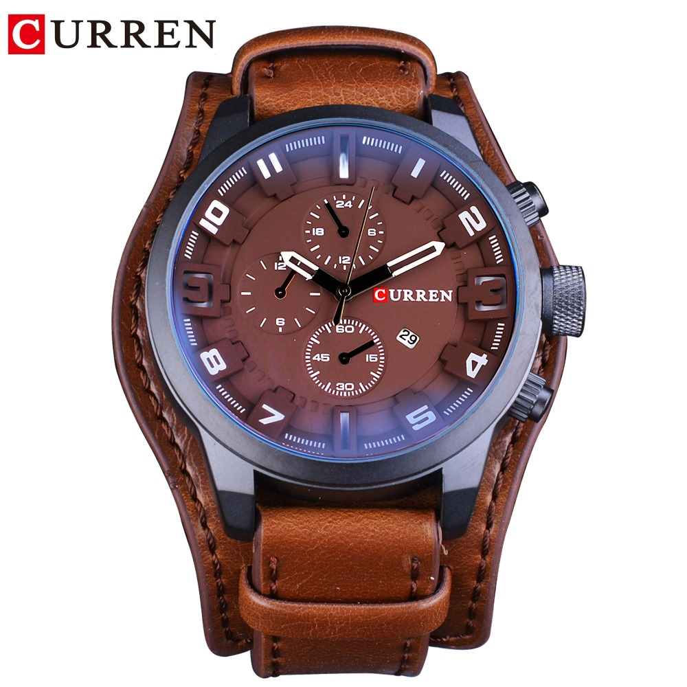 CURREN True Men Series Military Waterproof 3 Dial Design Fashion Brown Leather Belt Men Quartz Watch Male Clock Men Luxury Brand in Quartz Watches from Watches