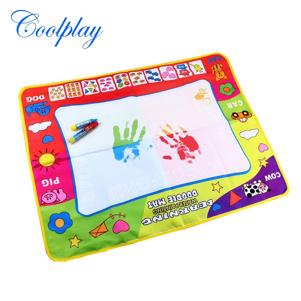 Coolplay 80x60 см Детский рисунок коврик нетоксичные акварель записи Doodle доска с Магия рисунок пером доска EDC игрушки для детей