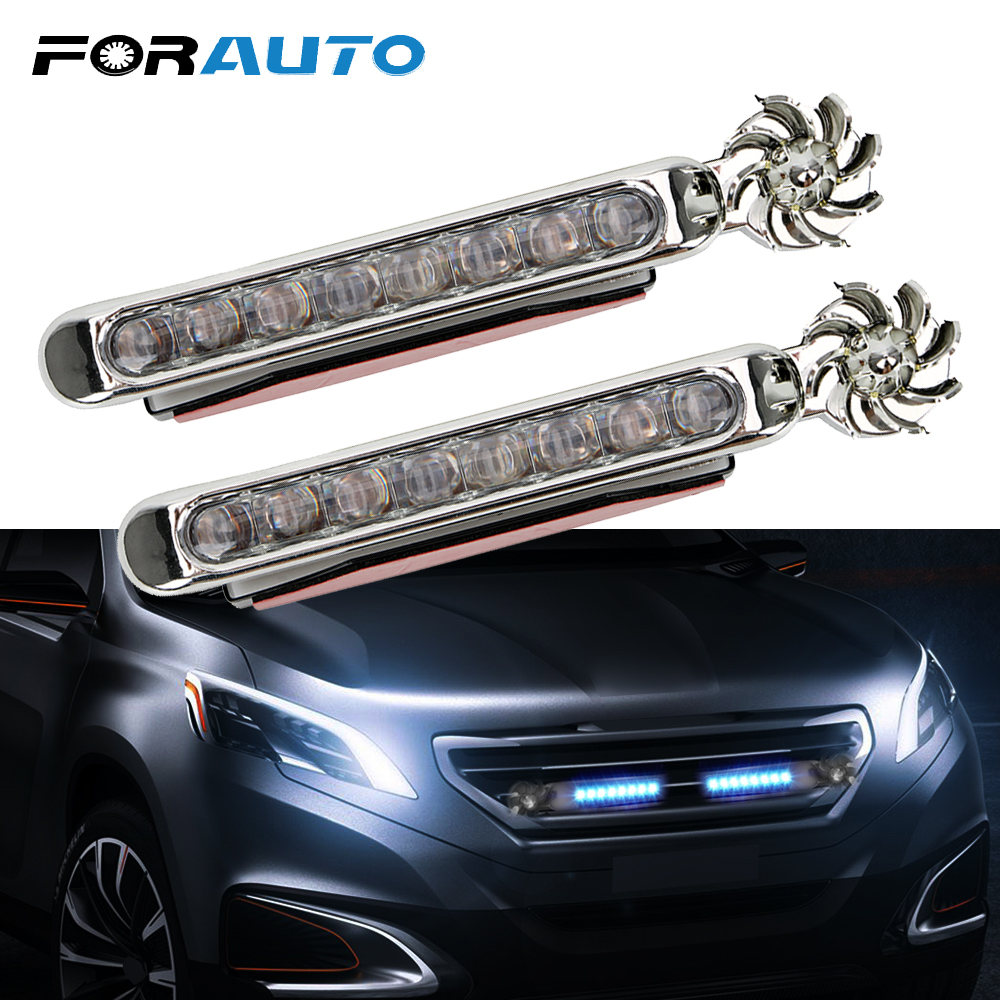 FORAUTO 1 Pair LED Wind Powered Car Daytime Running Lights Auto Decorative Lamp With Rotation Fan No Need External Power Supply