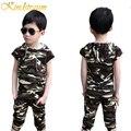 Kindstraum meninos conjuntos de roupas 2 pcs camiseta + calça de verão novo crianças chidren estilo camuflagem esportes fatos de treino casuais outwear, mc379