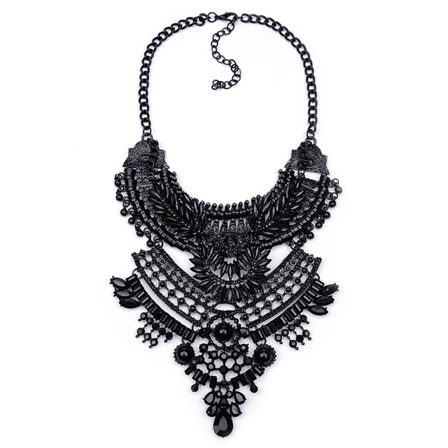 Fashion Collar Black Big Choker Necklace Pendant Crystal Statement Necklace for Women Femme Collier Vintage Jewelry nke-m94