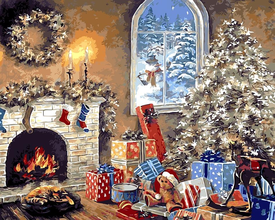 Santa Claus Dan Hadiah Merry Christmas Modul Gambar Mewarnai Dengan