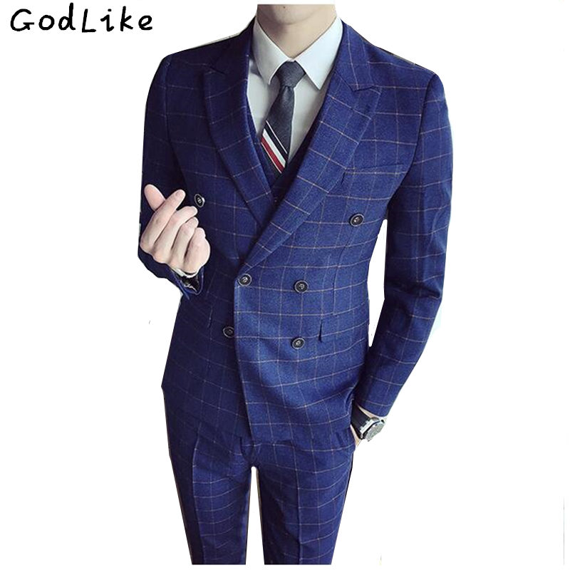 Brand Plaid Suit Men 2017 Slim Fit Mens Formal Wear Male Fashion Business Suits High Quality 3 Piece Groom Wedding Suit S/3XL