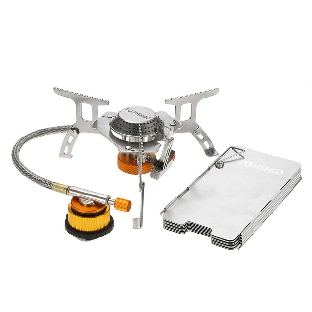 TOMSHOO Outdoor Camping Stove Gas Stove Kit Ultralight Compact Foldable Backpacking Gas Stove with 9 Plate Camp Stove Windscreen