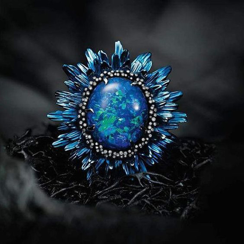 Charm Dar Blue Floral Anel Blue Fire Opal Stone Bright Silver Color Rings Bague for Women Party Holiday Jewelry Anillos