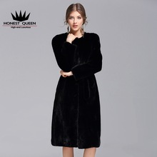 HQ 2017 New black mink fur coat high quality really mink coat female fashion simple natural black tailored
