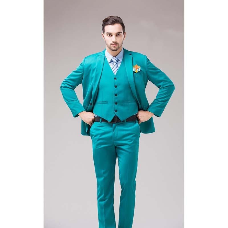 2020 зеленый синий смокинг жениха Нотч лацканы мужские костюмы Бирюзовый жених свадьба ужин Лучший человек костюмы (пиджак + брюки + жилет)