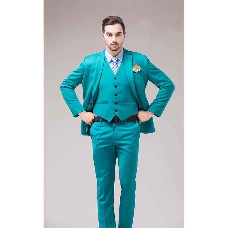 2020 Green Blue Groom Tuxedos Notch Lapel Men's Suits Turquoise Bridegroom Wedding Dinner Best Man Suits (Jacket+Pants+Vest)