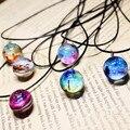 Collares duplex planeta harajuku estrelas galaxy padrão de vidro curtas colares & pingentes colar maxi para as mulheres casal namorada