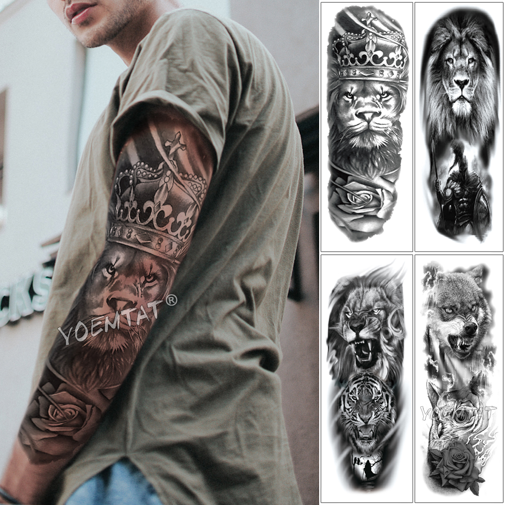 Manga De Tatuaje Para Brazo Grande Tatuaje Temporal A Prueba De Agua Leon Corona Rey Rosa Lobo Salvaje Tigre Hombre Totem Completo De Craneo Tatuajes Temporales Aliexpress