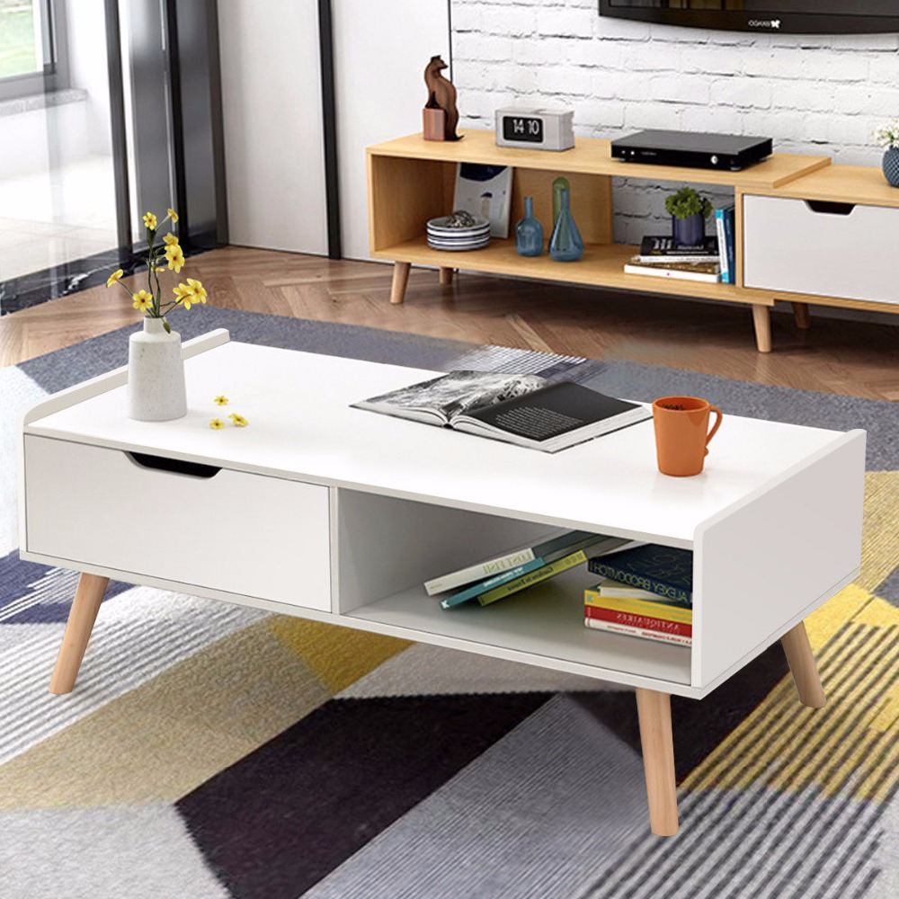 Giantex Modern Coffee Table Side End Table Cabinet With