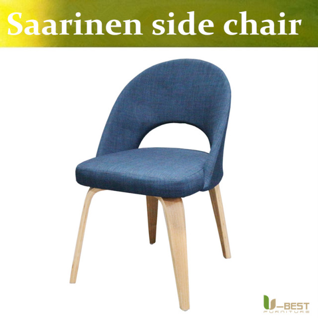 Free shipping U-BEST modern replica Saarinen side executive chair,Hotel Side Chairs Armless Solid wood dining chair