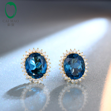 9x11mm Oval Cut 9.20ct Blue Topaz 14kt Yellow Gold Natural Diamond Stud Earrings Free shipping