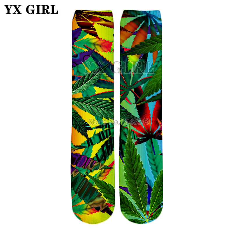 YX GIRL Drop shipping 2018 Summer New Fashion 3D Straight socks Colorful weed leaves Print Men/Women casual Socks