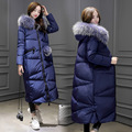 Jaqueta longa na altura do joelho estilo Coreano grosso solto branco pato para baixo grande gola de pele de inverno oversize casaco de cor sólida MZ1187