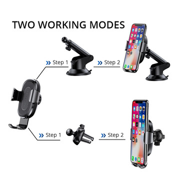 Baseus 2 in1 Qi Wireless Car Charger for iPhone XS Max Samsung S8 Quick Wireless Charging Charger Car Mount Mobile Phone Holder 1