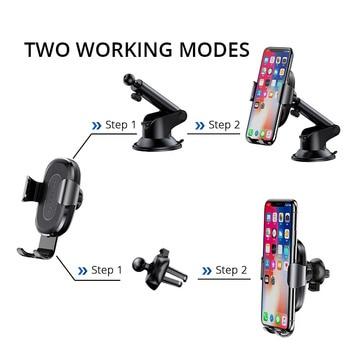 Baseus 2 in1 Qi Carregador de carro sem fio para iPhone XS Max Samsung S8 Carregador de carregamento sem fio rápido Suporte de carro Suporte para celular 1