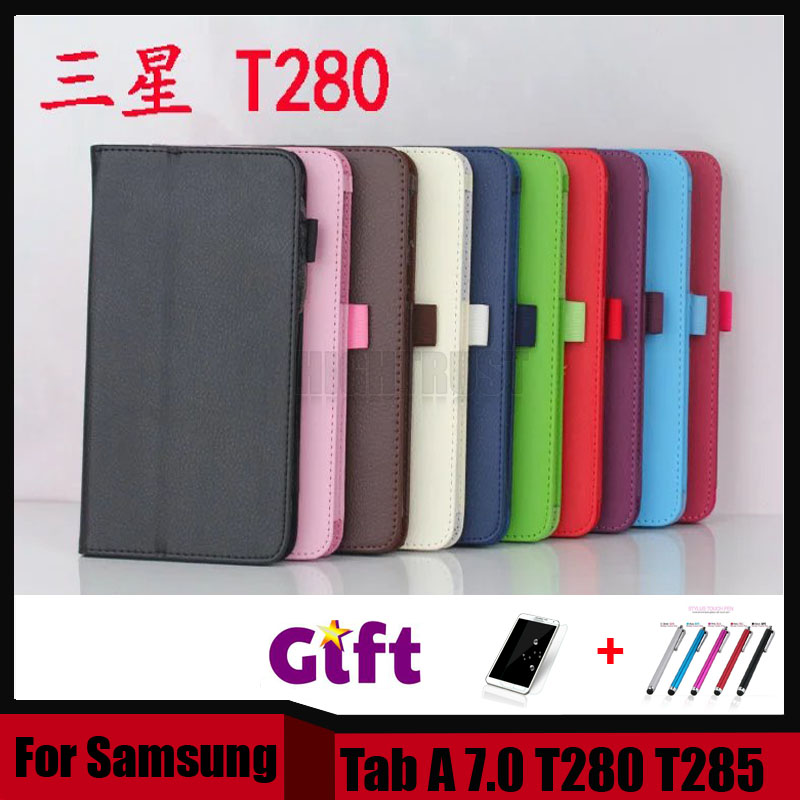 3 in 1 Hot Sale New Lichee Style PU Leather Stand Case Cover For Samsung Galaxy Tab A 7.0 T280 T285 + Stylus + Screen Film
