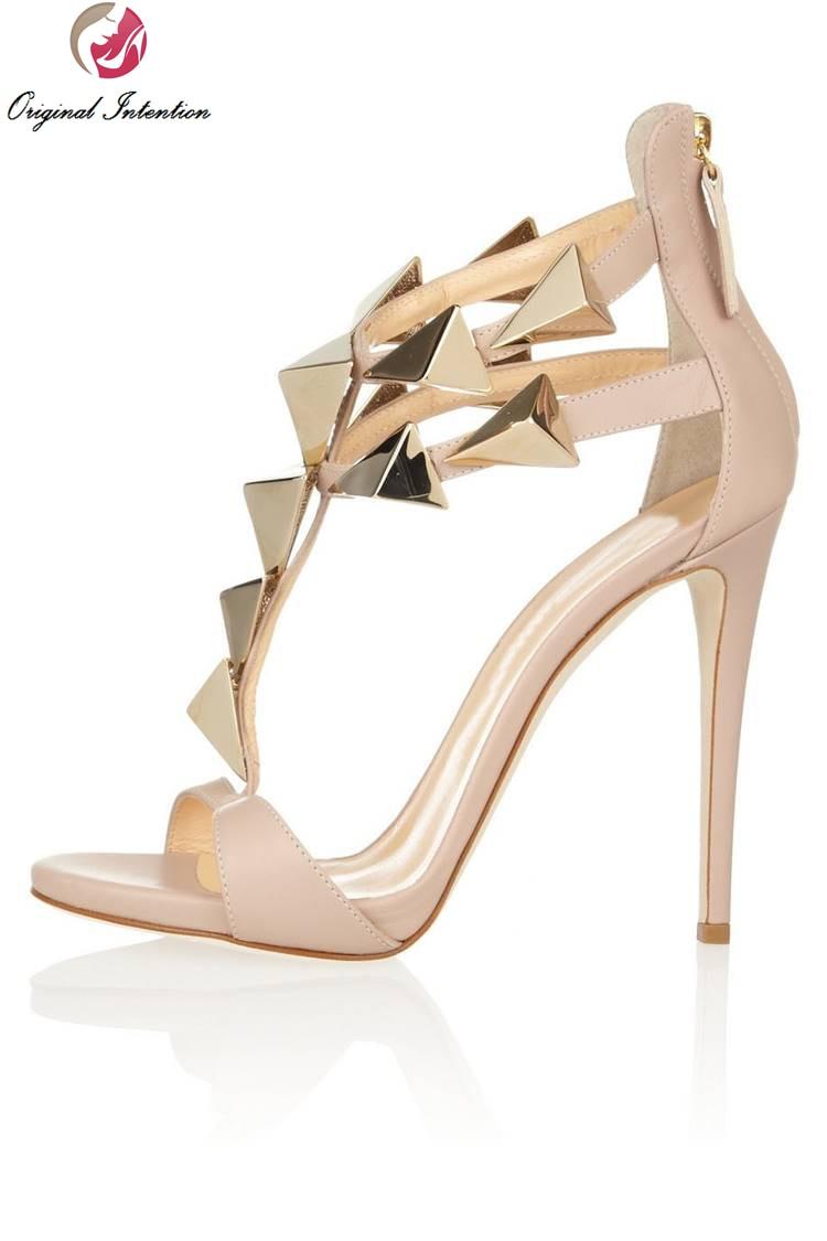 ФОТО Original Intention 2 Colors Women T-strap Sandals Zip Sexy Open Toe Thin Heels Sandals Beige Black Shoes Woman Plus Size