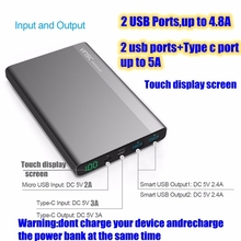 Vinsic 20000mah Power Bank 20000 mah Powerbank 5V 4.8A with 3A Type C Port for iPhone Xiaomi Mi 2 Mi5 Nexus 5X 6P Samsung S8