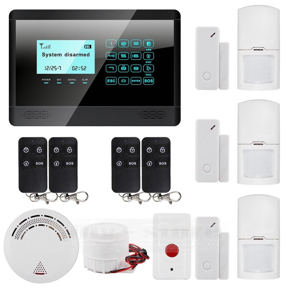 DIYSECUR 433 MHz capteur sans fil GSM SMS texte maison maison système d'alarme LCD écran maison intrus voix 850/900/1800/1900 MHz