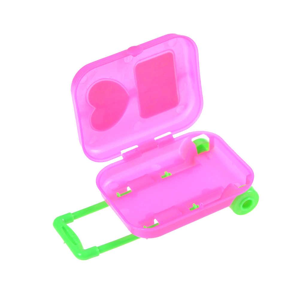 Neue 1PC Ausgehenden Zubehör Decor Mädchen Geschenk Nette Rosa Puppenhaus Roll Koffer Gepäck Box Für Puppe Reise Puppen