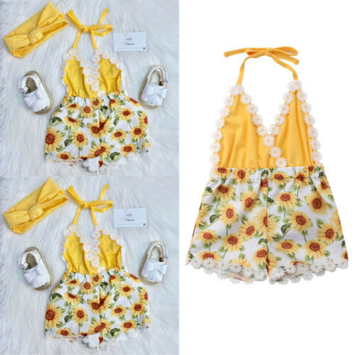 2019 Toddler Kid Baby Girls Cute Sunflower Romper Bodysuit Jumpsuit Outfit Set