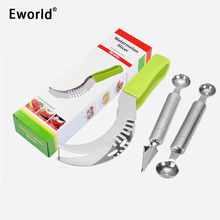 Eworld Party Pasokan Stainless Steel Cut Buah Sendok Semangka Slicer Cutter Corer Scoop Alat Pengiris Cepat Cerdas Kitchen Cutting Tools