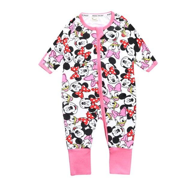 Baby Boy Girl Zipper Romper Long Sleeves 100% Cotton Baby Pajamas Cartoon  Printed Newborn Baby
