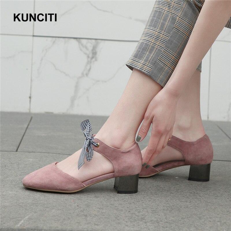 2019 รองเท้าผู้หญิง Elegant Suede หนังกลาง Heel ปั๊มรองเท้าน่ารักสีชมพู Bow Tie Lace Up Footwears Top คุณภาพ G967-ใน รองเท้าส้นสูงสตรี จาก รองเท้า บน   3